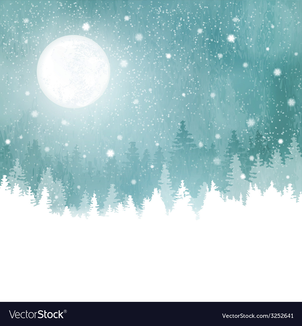 Winter background with fir trees