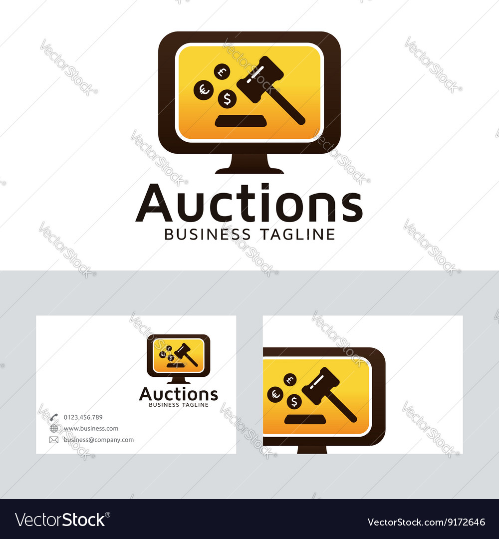 Auction logo with business card template