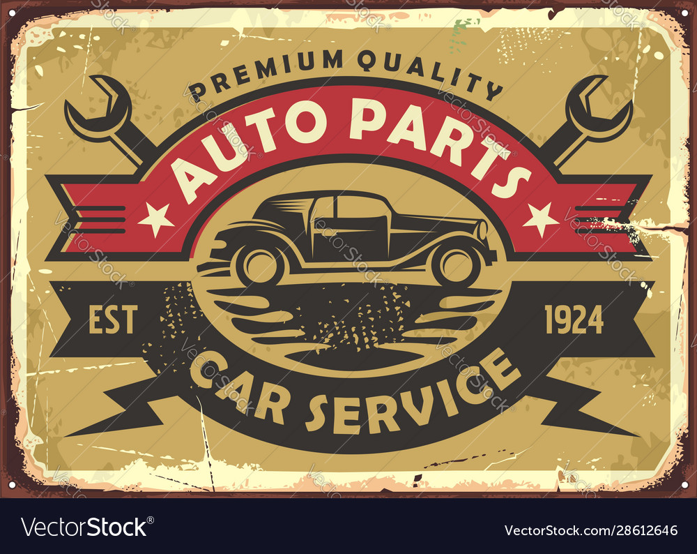 Auto parts and car service old vintage sign