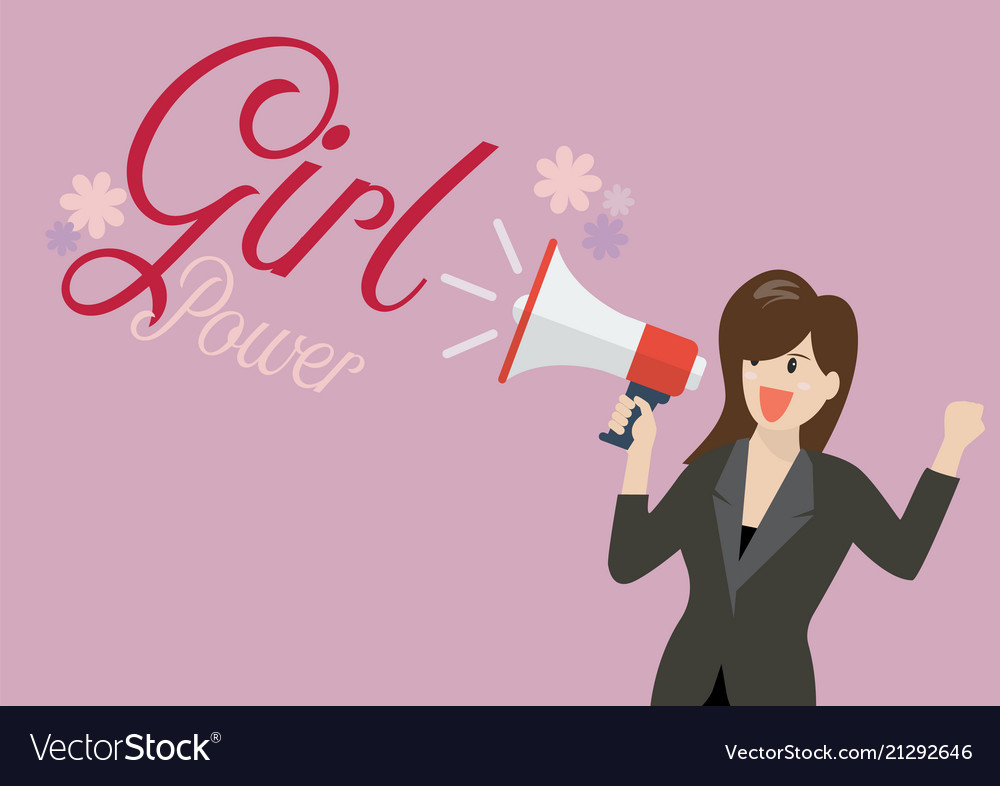 Business woman holding a megaphone with word girl