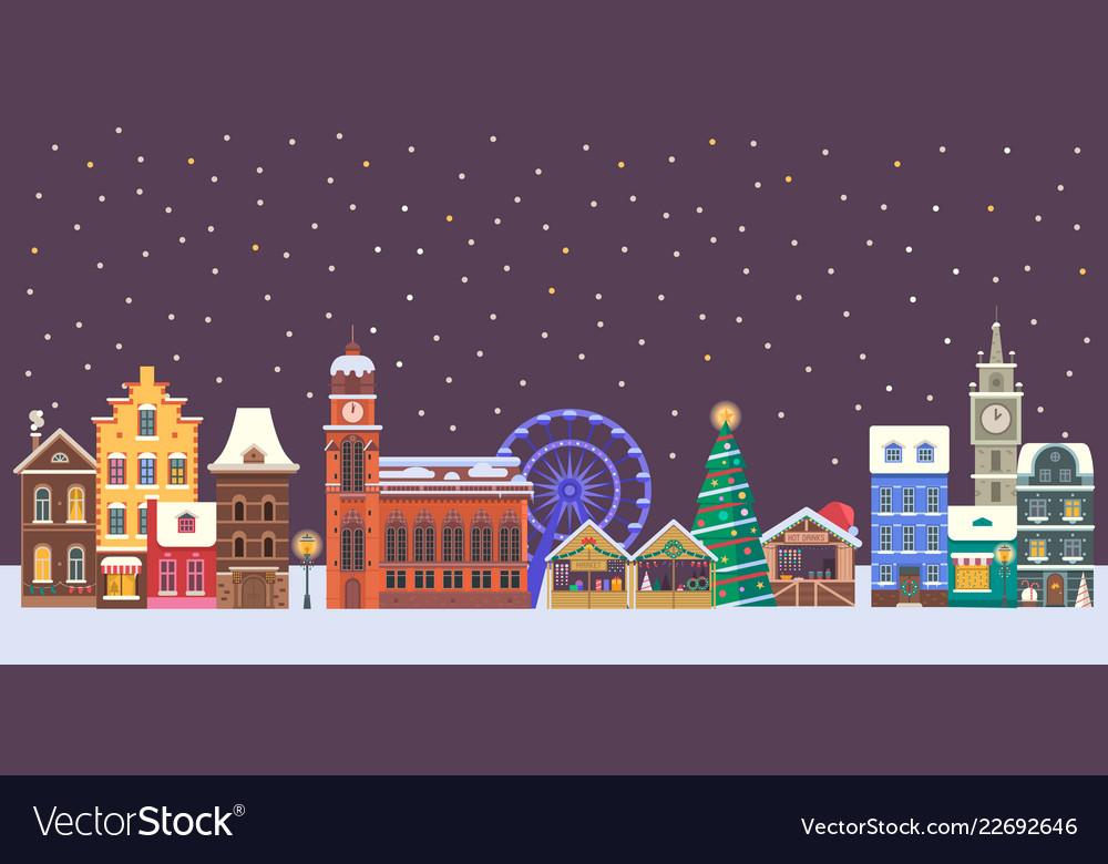 Christmas europe city banner