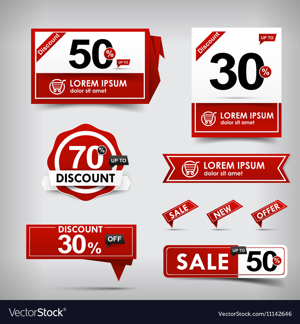 Collection of red and white web tag banner