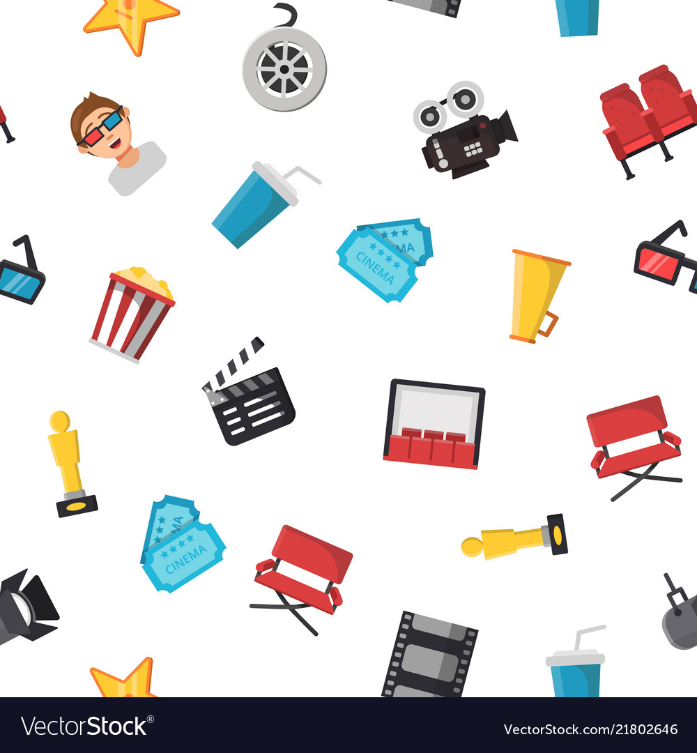 Flat cinema icons pattern or background