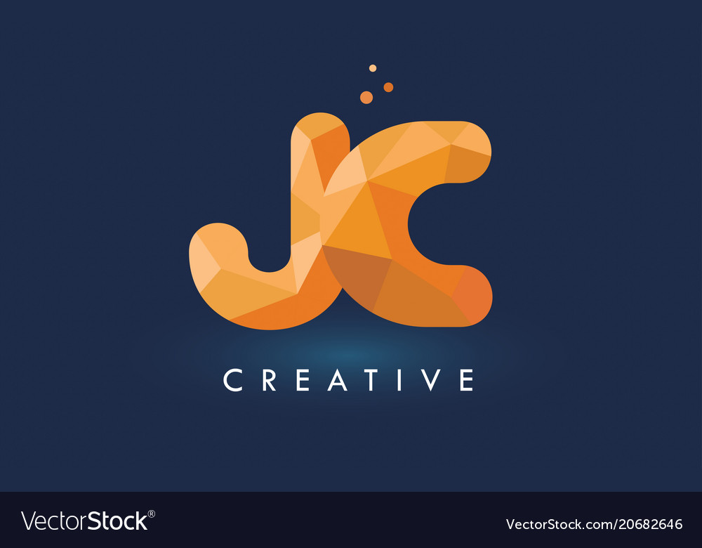 Jc letter with origami triangles logo creative