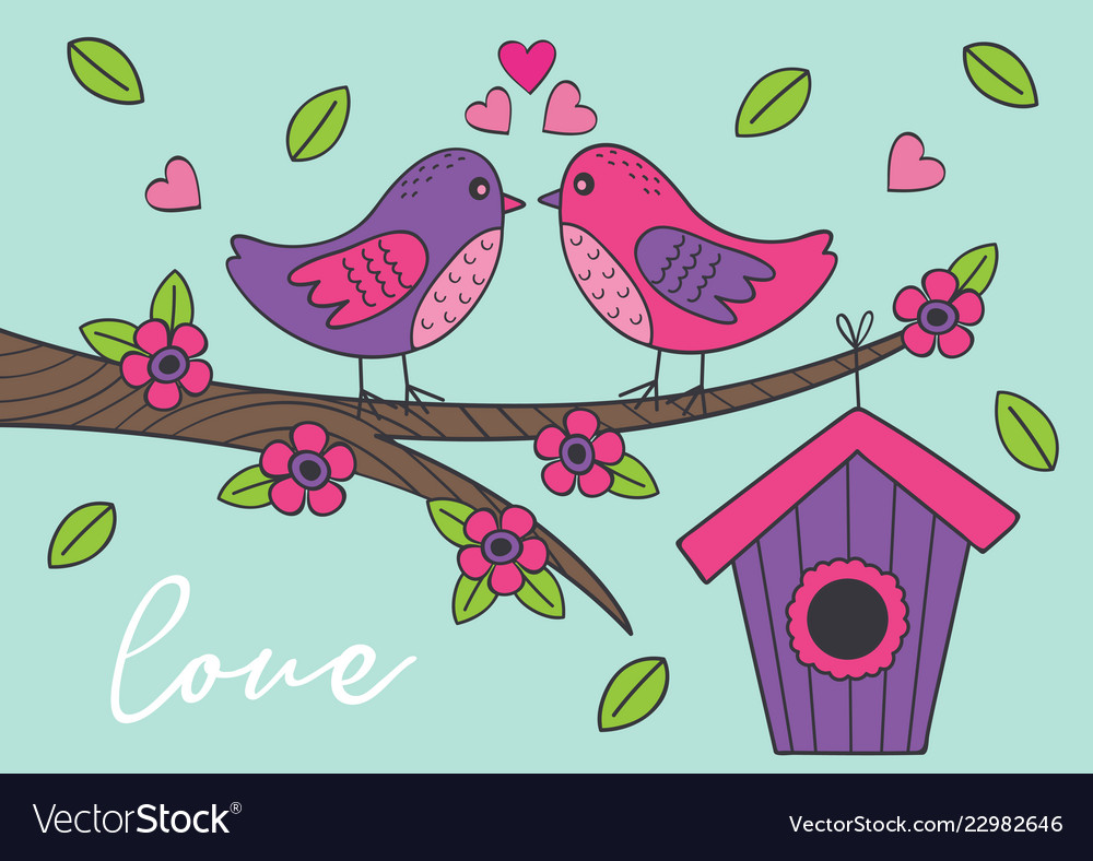 Love card with birds on branch