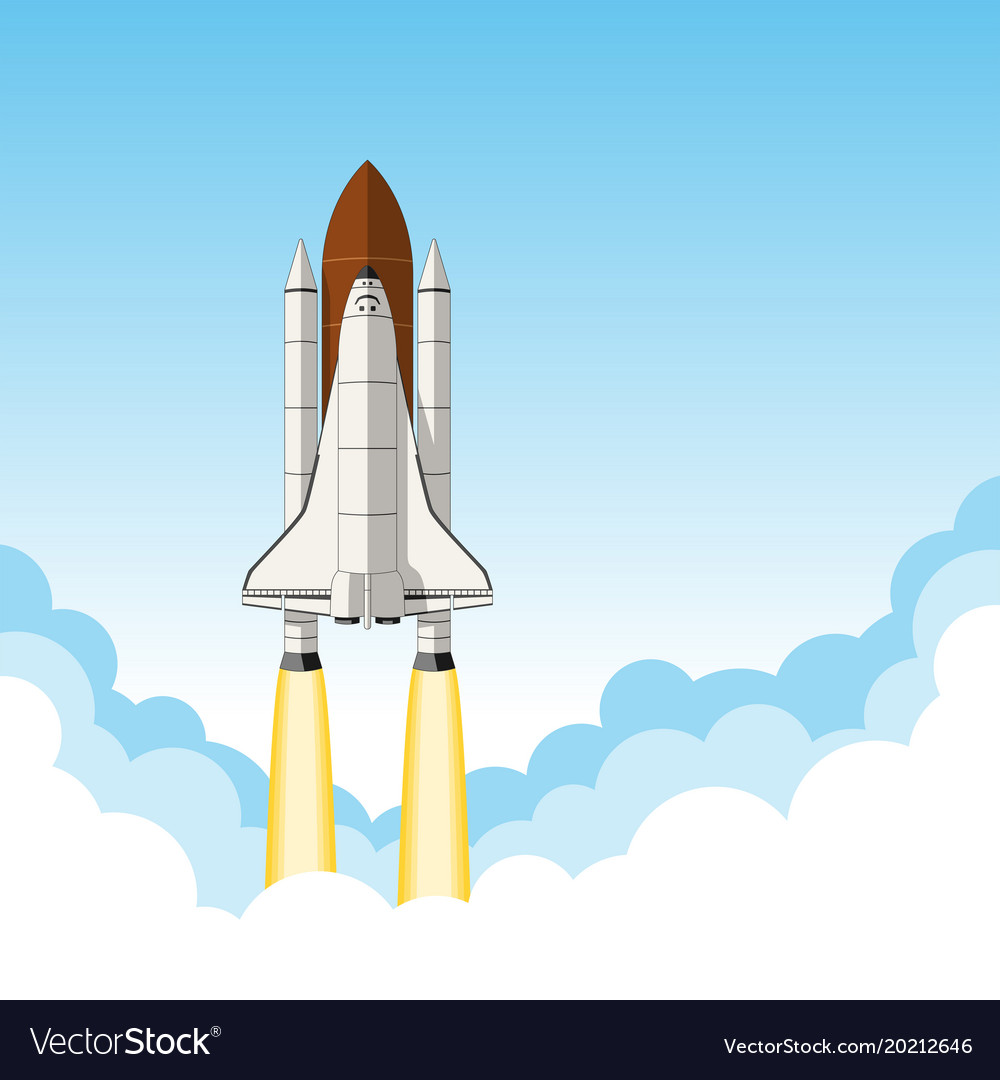 space shuttle launch background with room for text rh vectorstock com New Space Shuttle Cape Canaveral Space Shuttle Outline