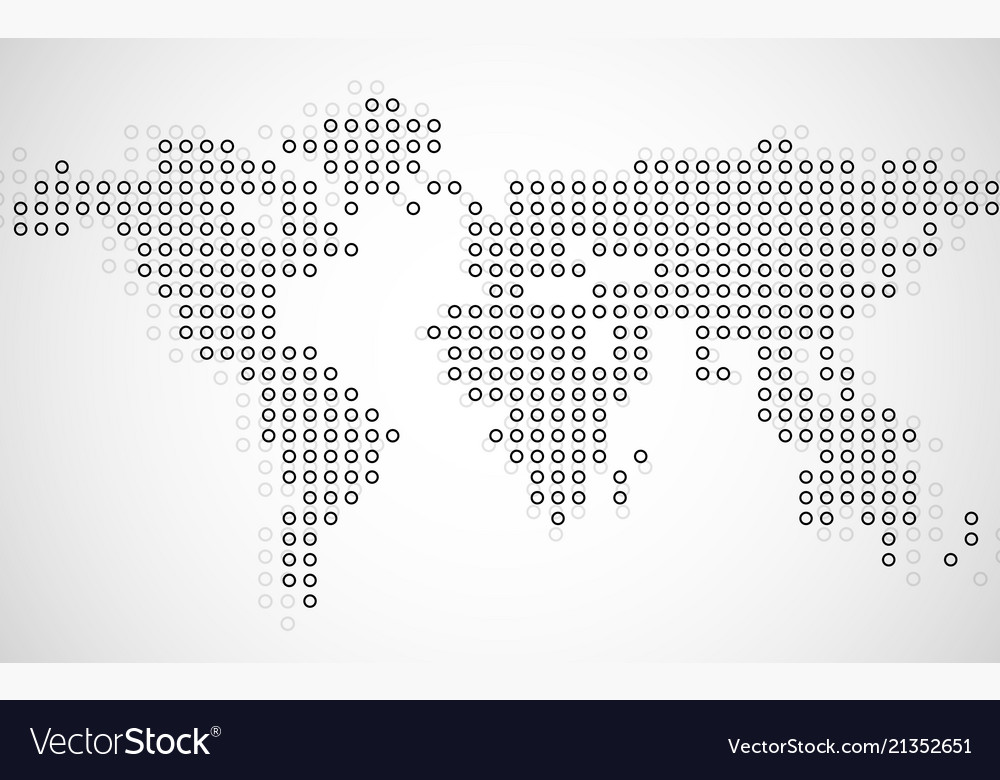 Abstract world map of dots on white background