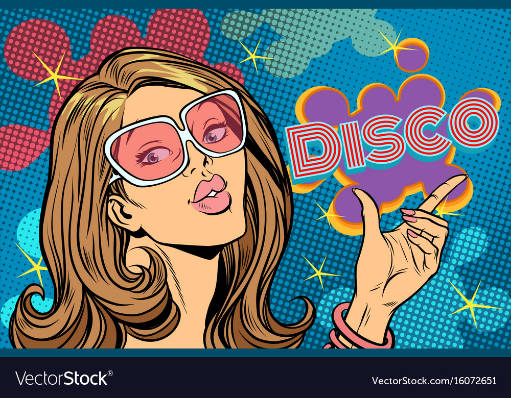 Beautiful woman disco pop art style