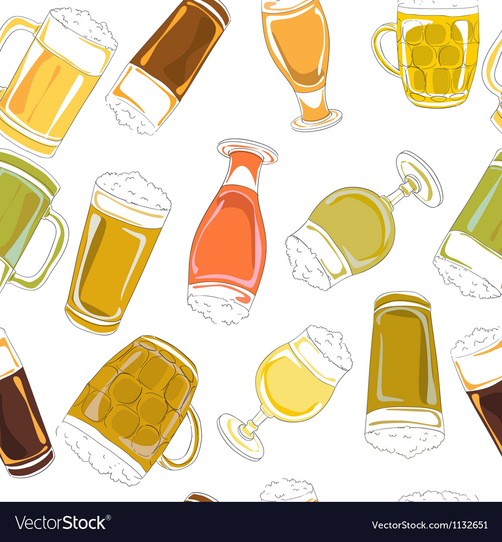 Beer pints pattern vector image