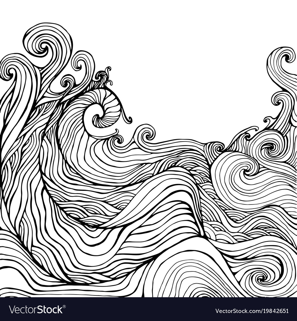 Black white decorative doodles wave vector image