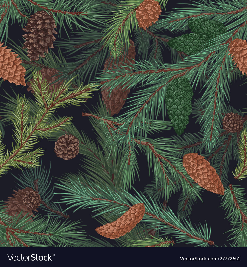 Colorful realistic seamless pattern with conifer