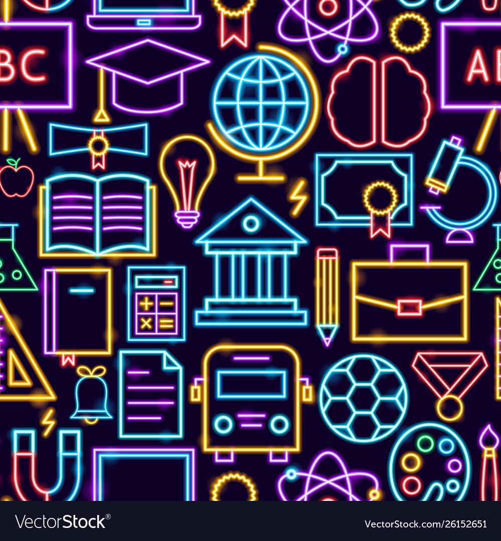 Education neon seamless pattern
