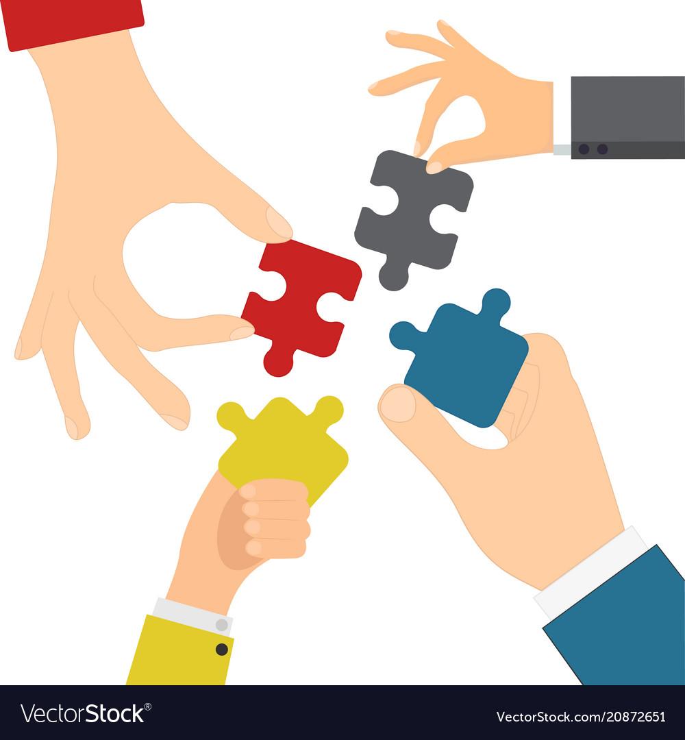 Hands solving jigsaw vector image