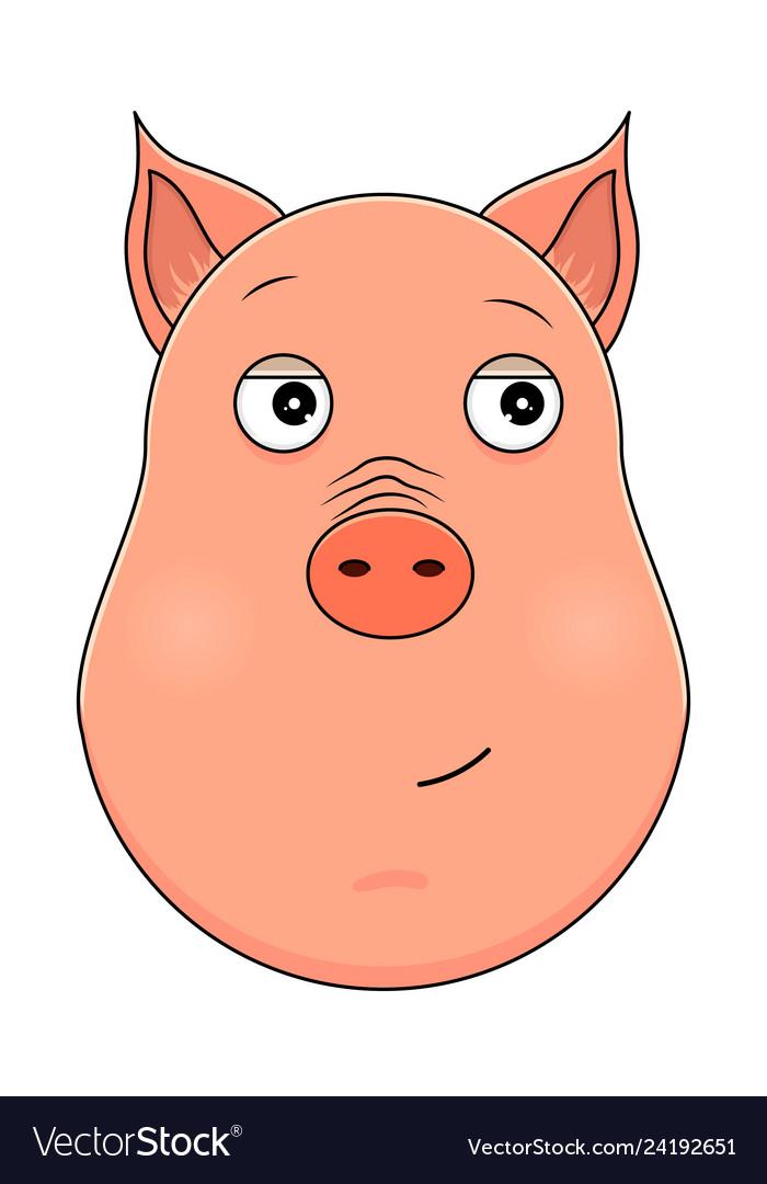 Head of trusting pig in cartoon style kawaii