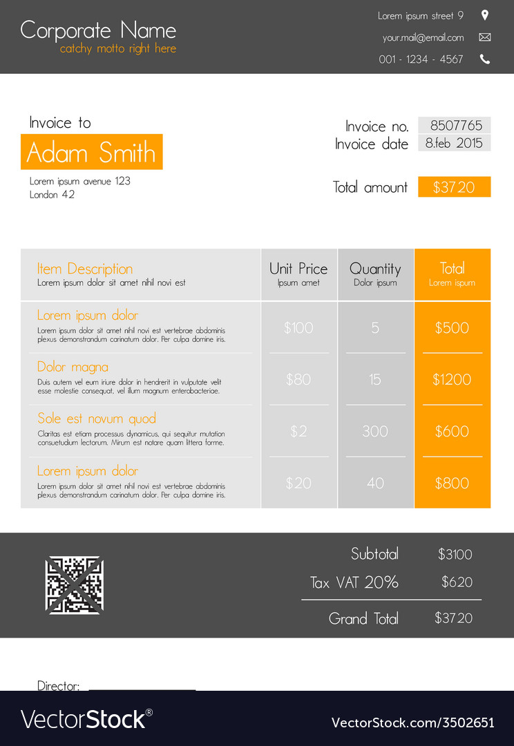 Invoice Template Orange Clean Modern Style Vector Image - Invoice style