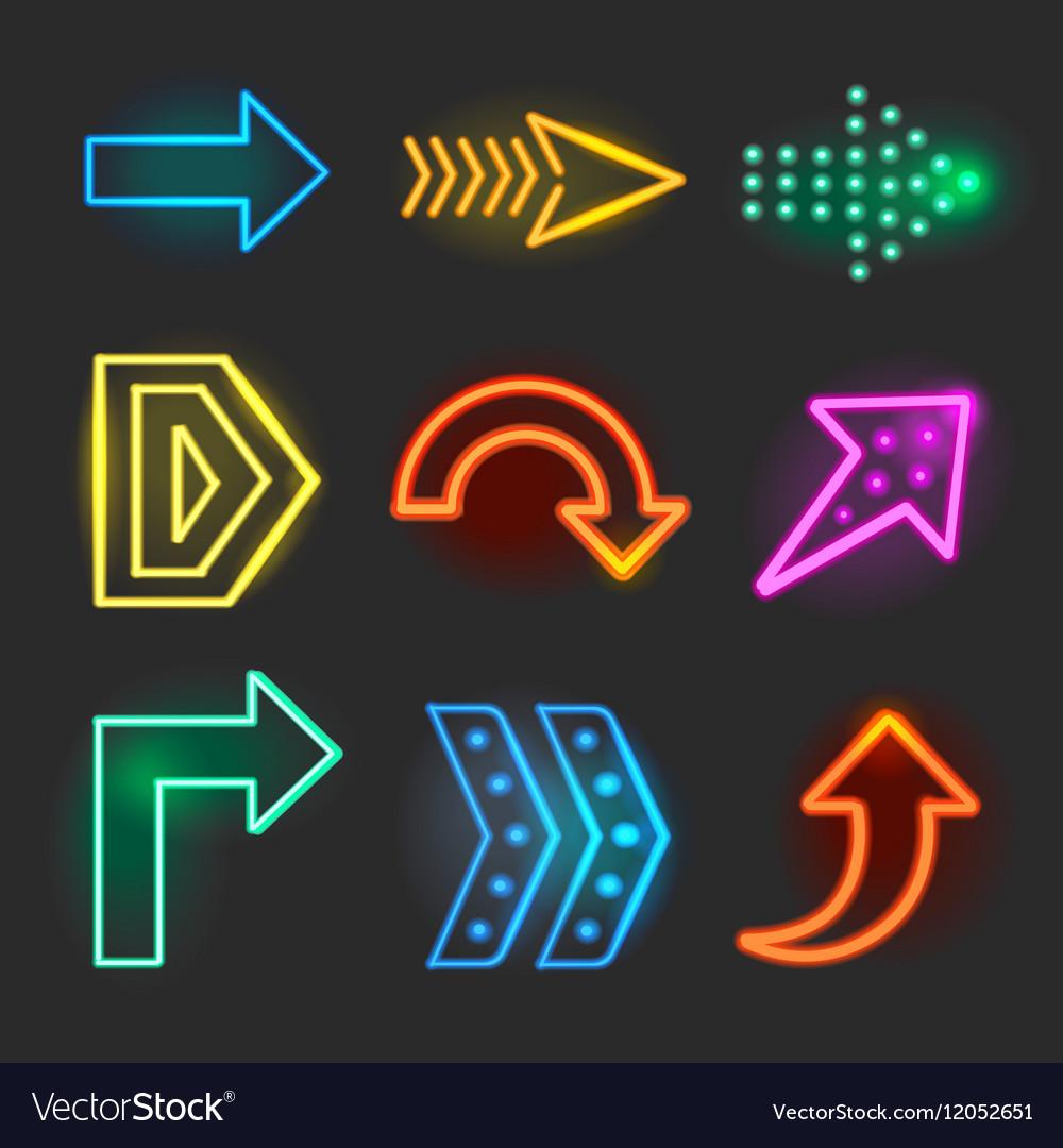 Neon realistic arrows signs vector image