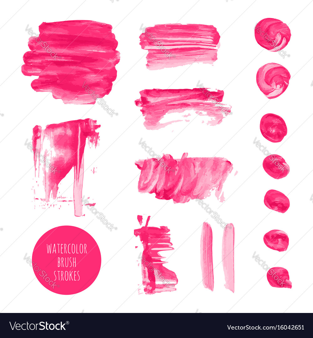 Pink watercolor dry brush stroke texture kit