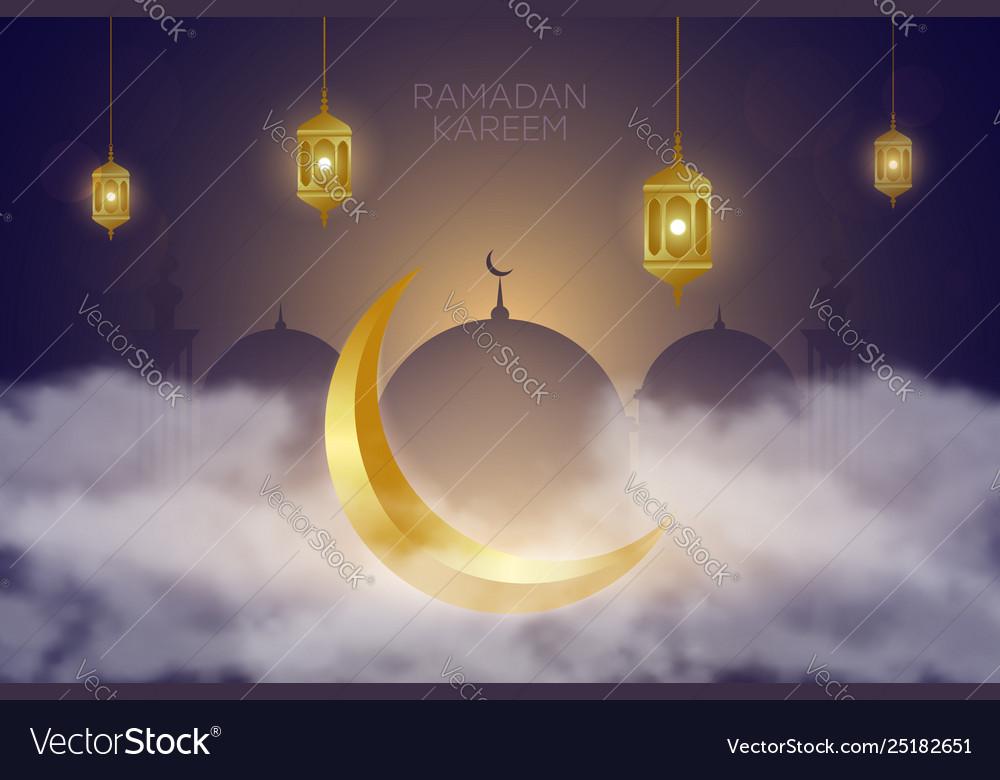 Ramadan kareem background with golden crescent in