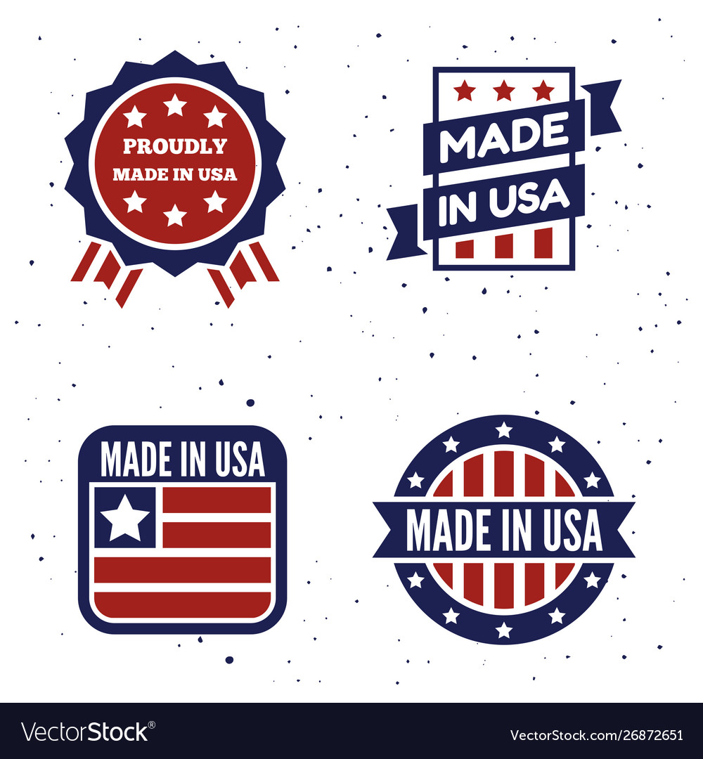 Set made in usa logo labels and