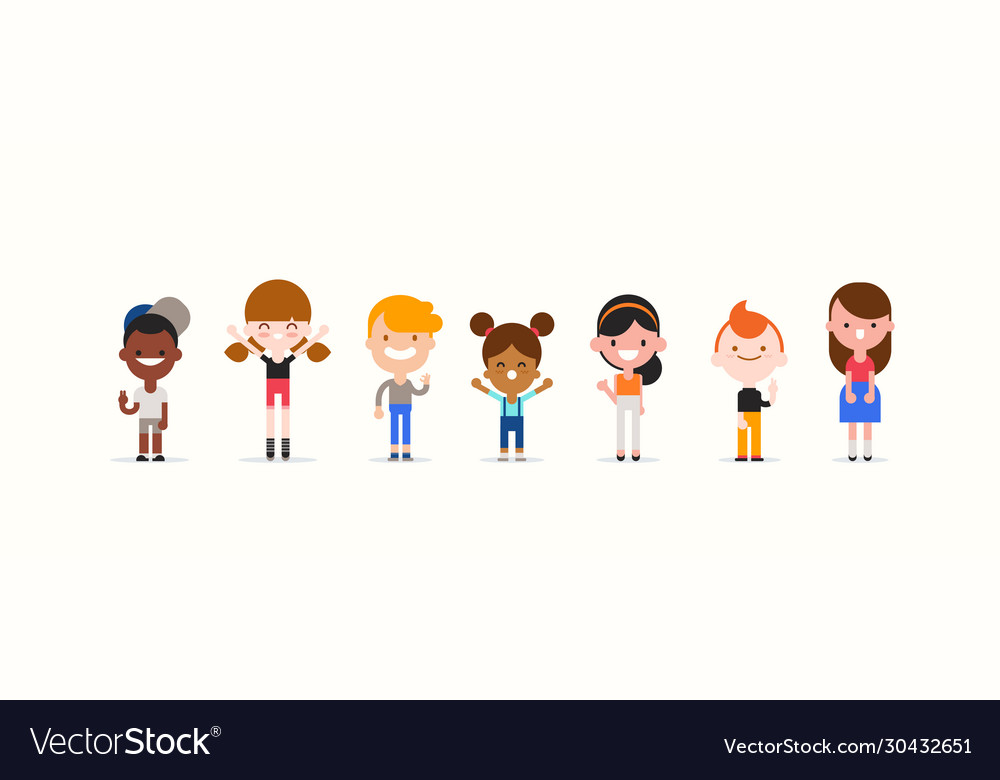 Smiling kids character in flat design style