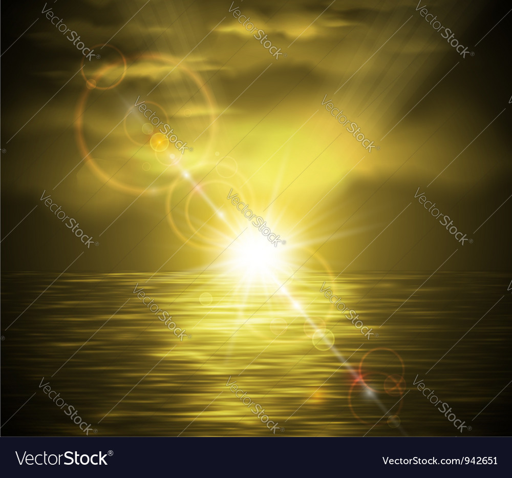 Sunset in sepia style vector image