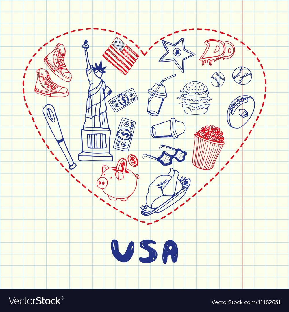 USA Symbols Pen Drawn Doodles Collection