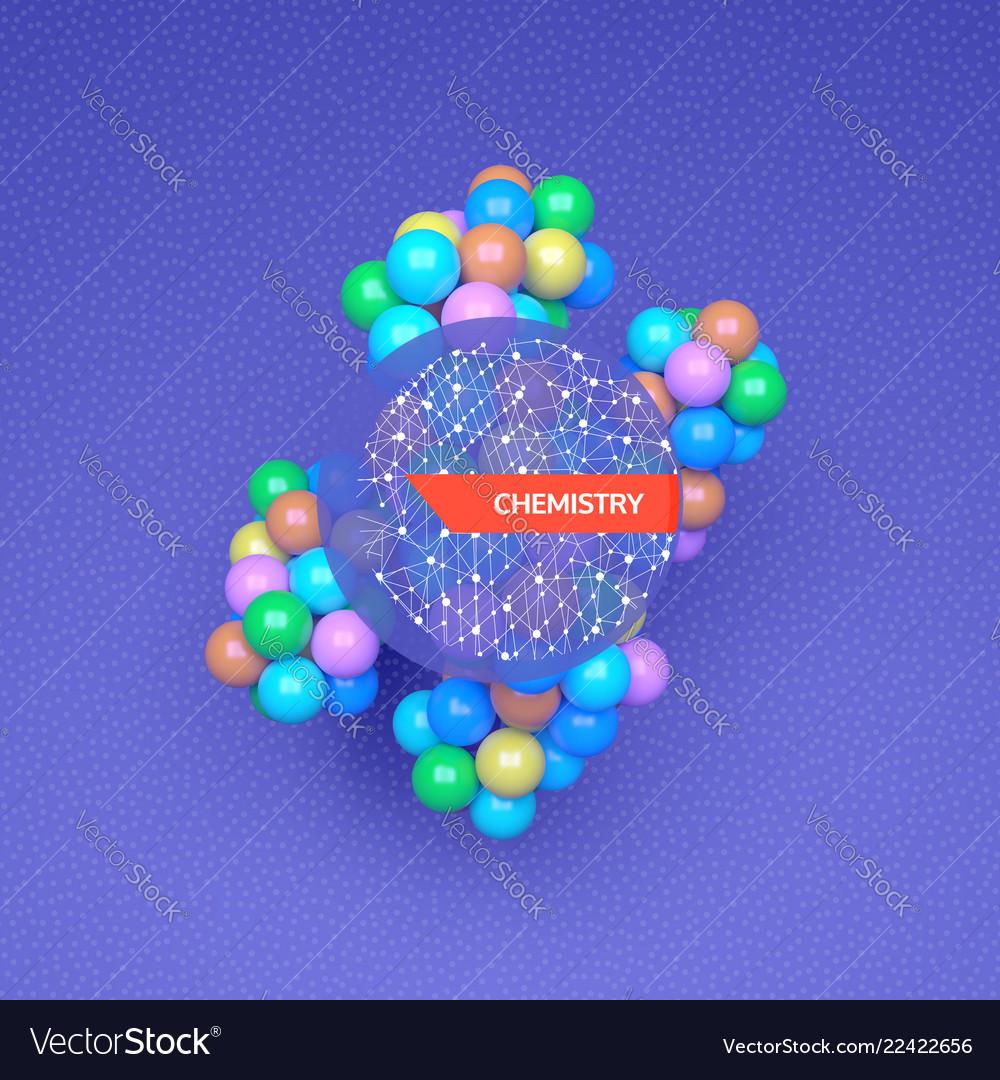 3d molecule structure futuristic technology style