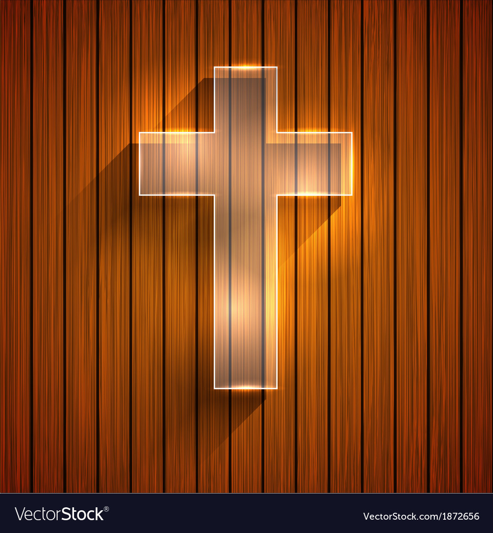 Cross on wooden background Eps 10