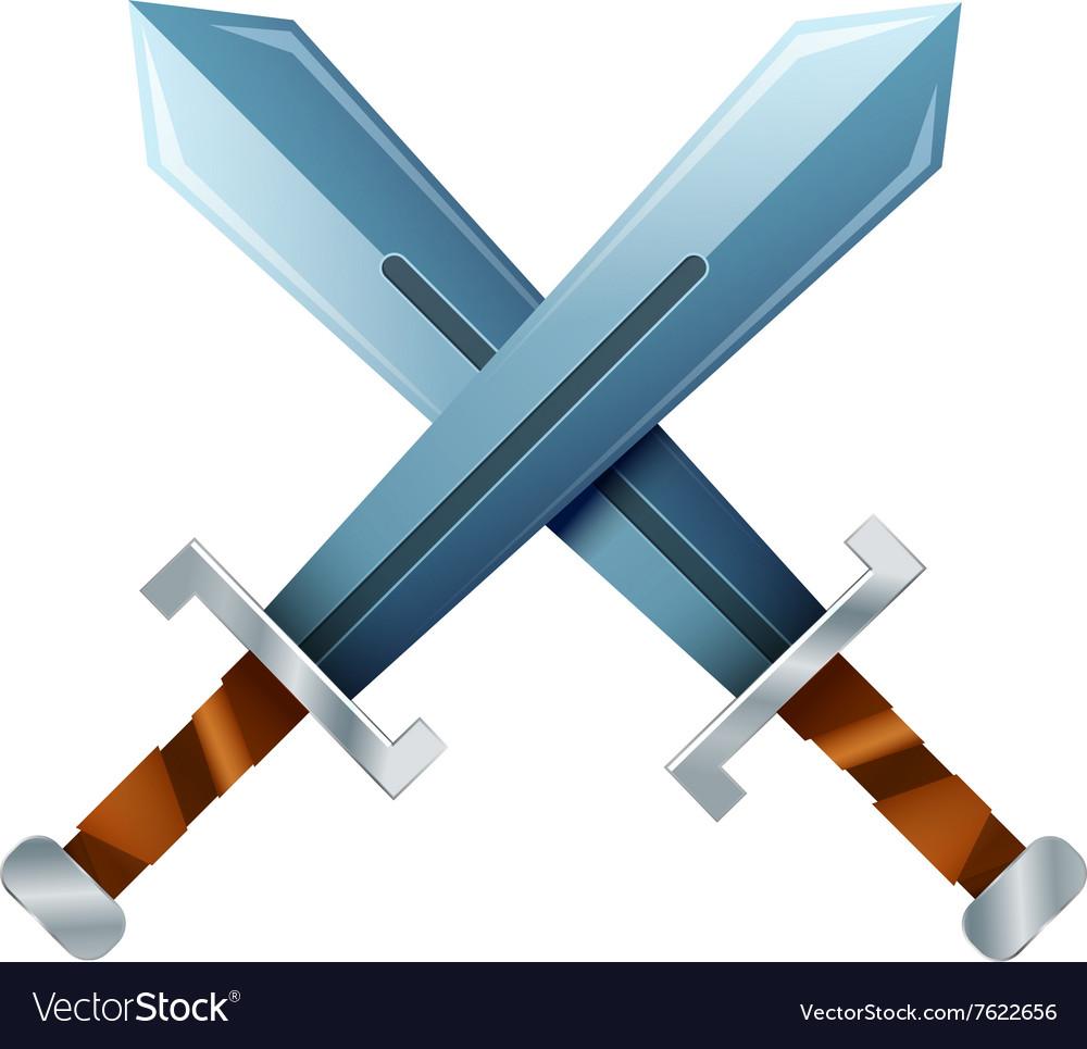 Crossed swords cartoon icon on white