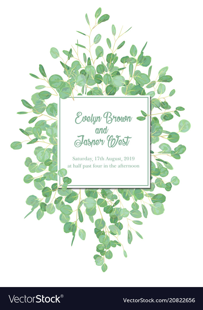 Floral design card with watercolor eucalyptus