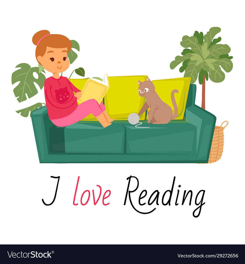 Girl reading book on sofa and cat home pet