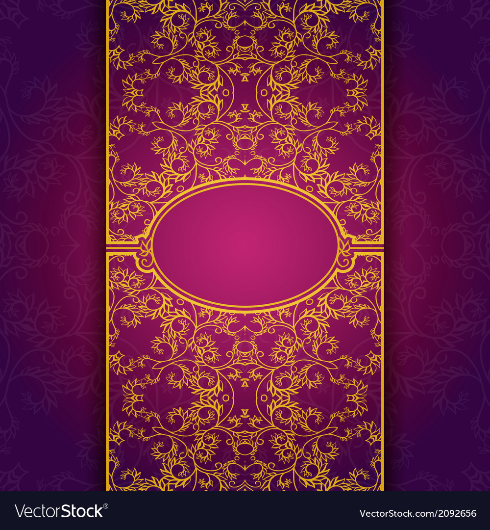 Gold abstract invitation floral violet frame Vector Image