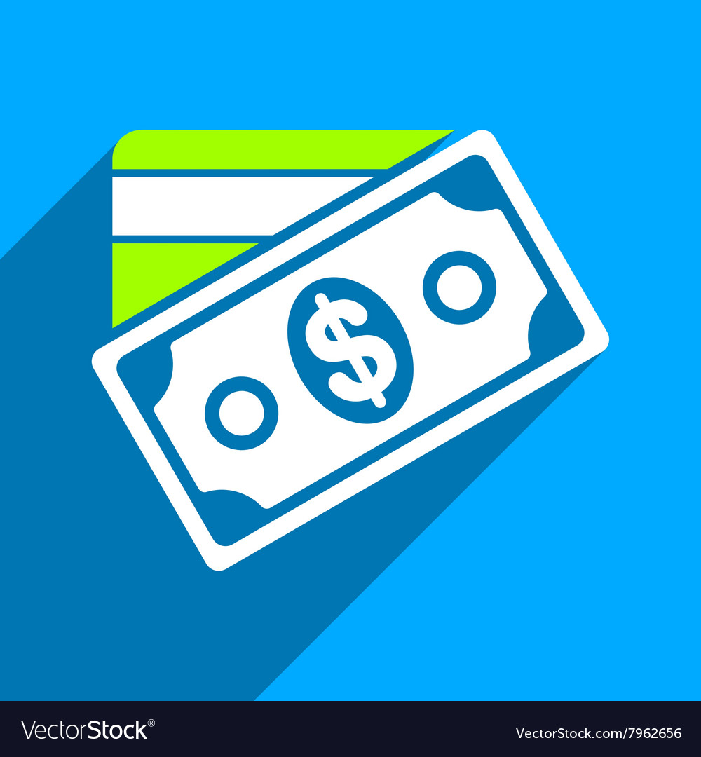 Money Flat Square Icon with Long Shadow