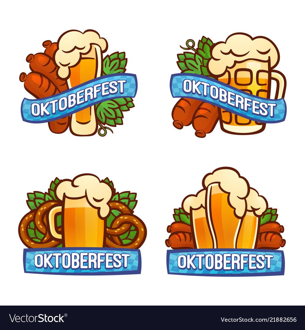 Oktoberfest logo set cartoon style