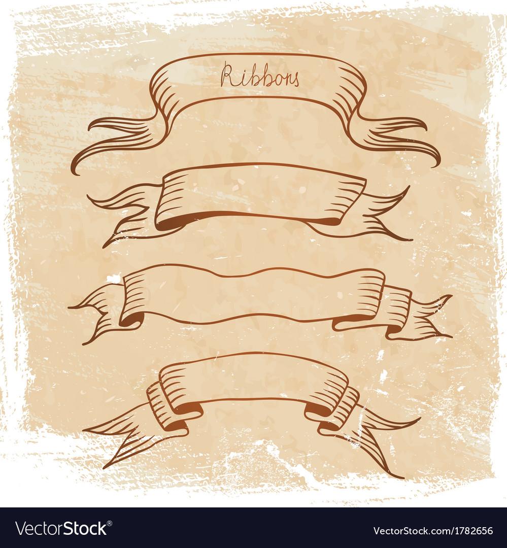 Ribbon set sketch vector image