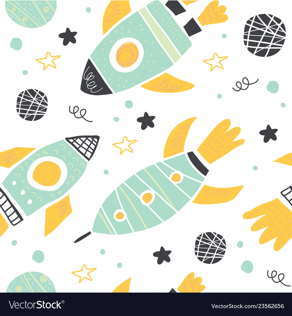 Seamless pattern with doodle rockets and planets