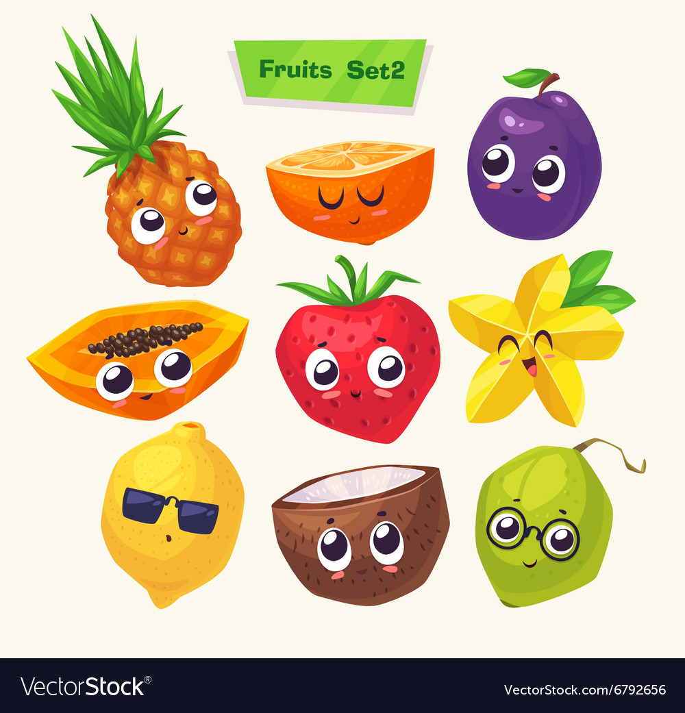 Set of fruit characters cute cartoons