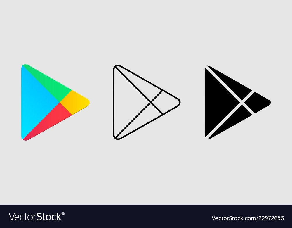 Social media icon set for google play in different