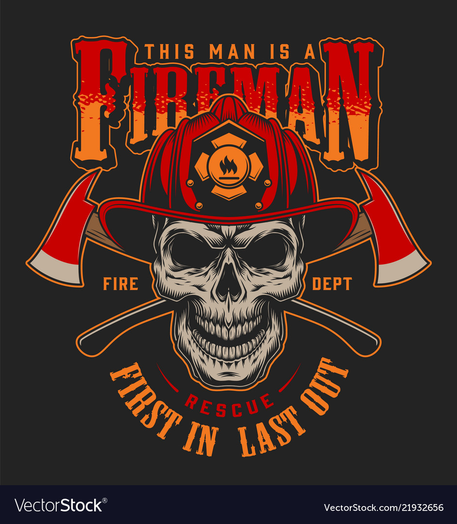 vintage firefighter colorful label template vector image