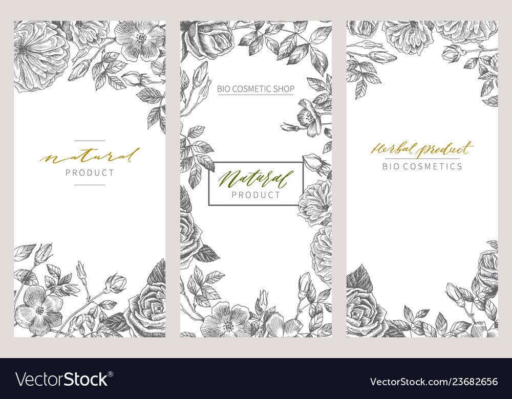 Vintage floral cards set frame with engraving