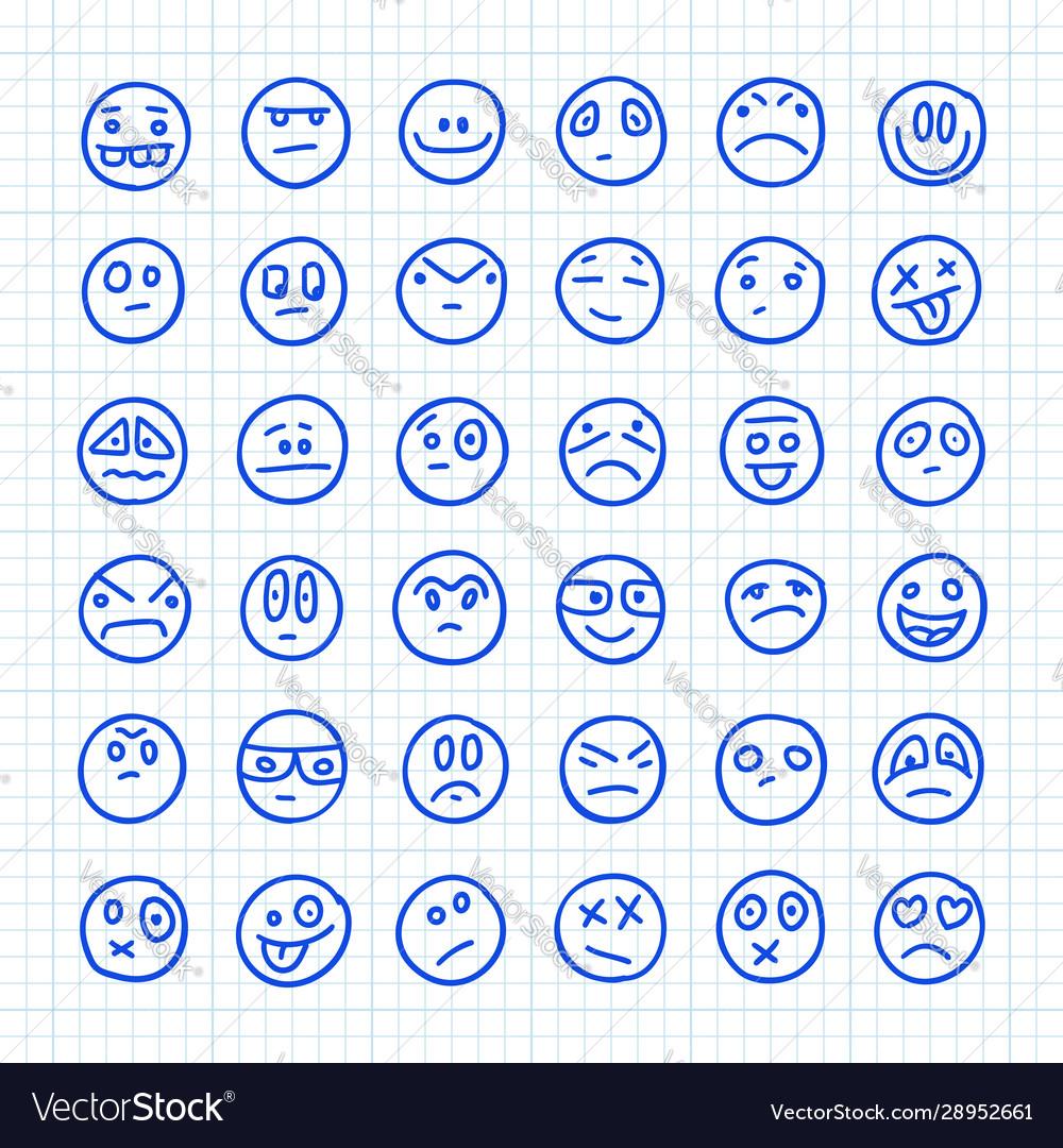 A set emoji icons drawn hand on squared
