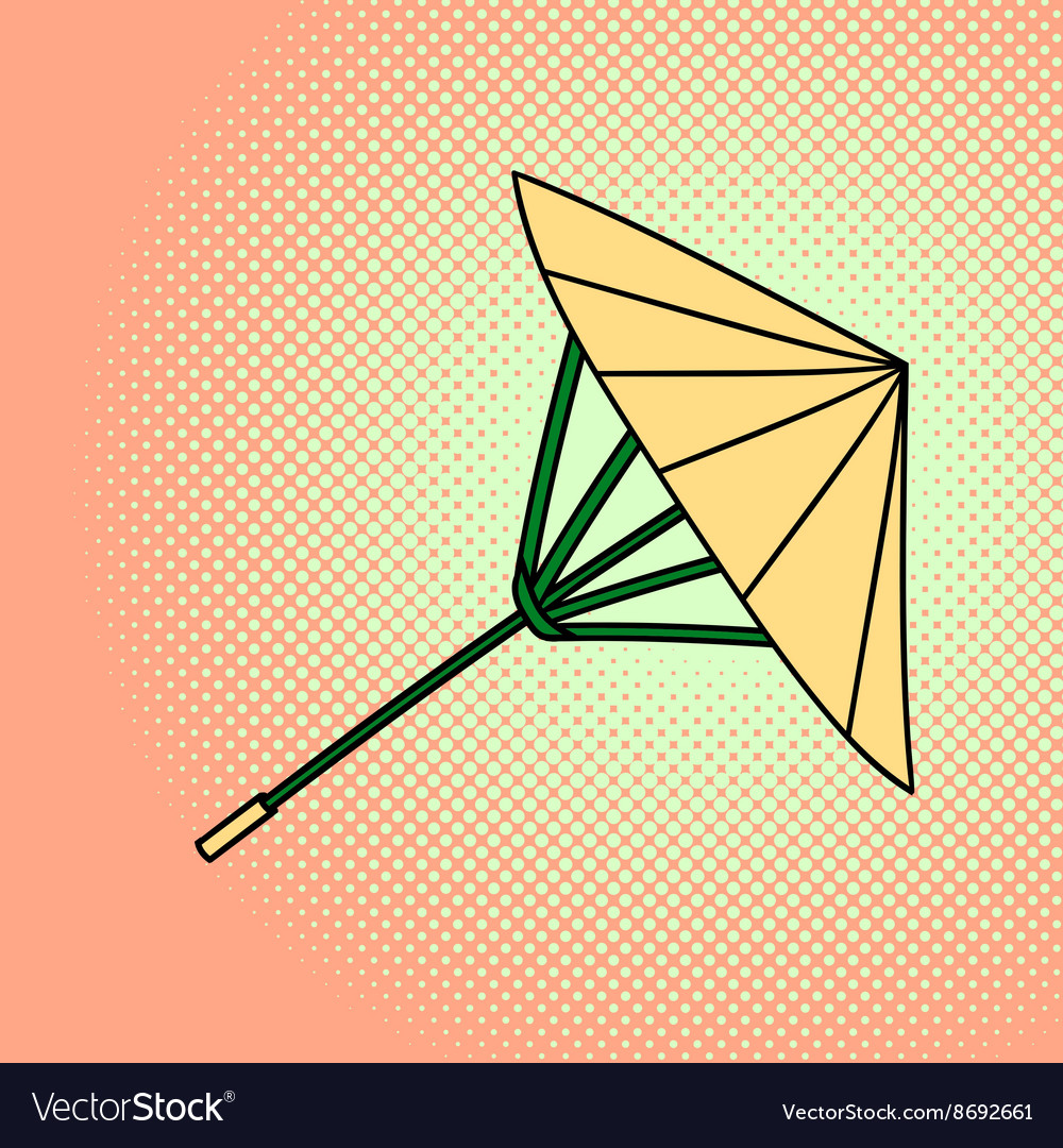 Bamboo umbrella pop art vector image