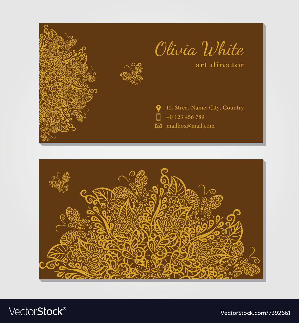 Business card Brown background