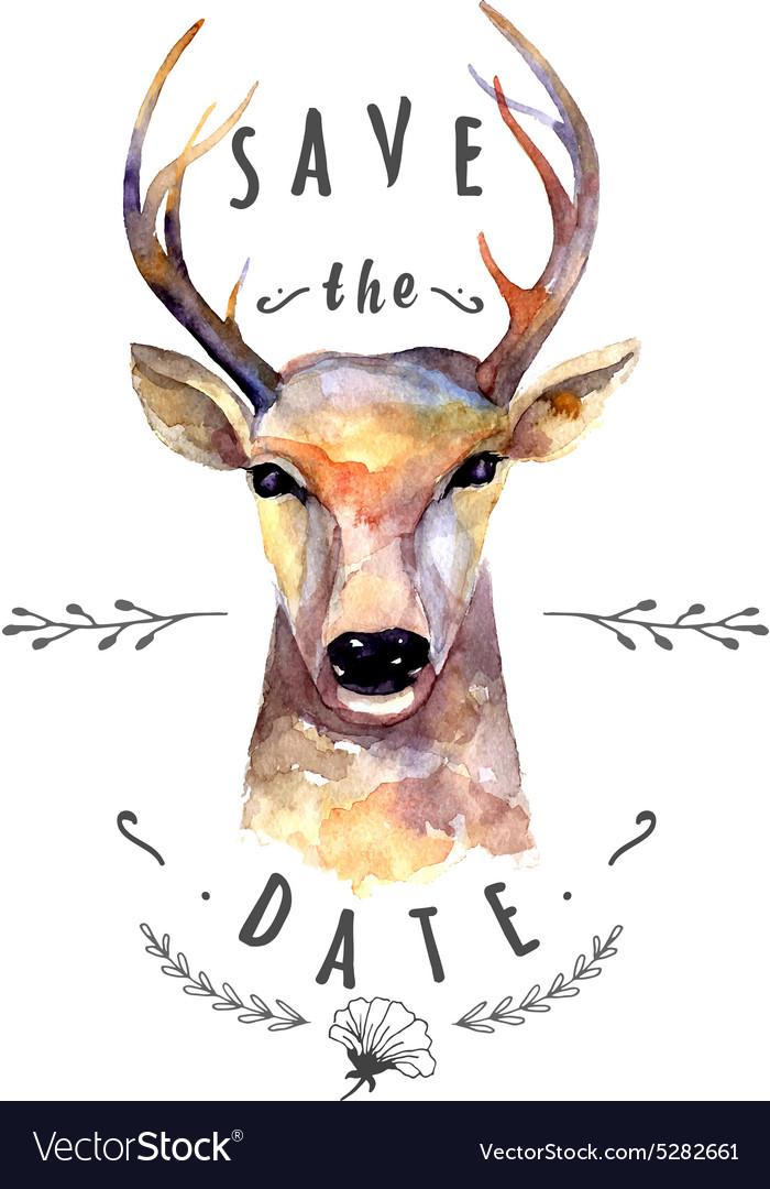 Deer watercolor Save the date vector image