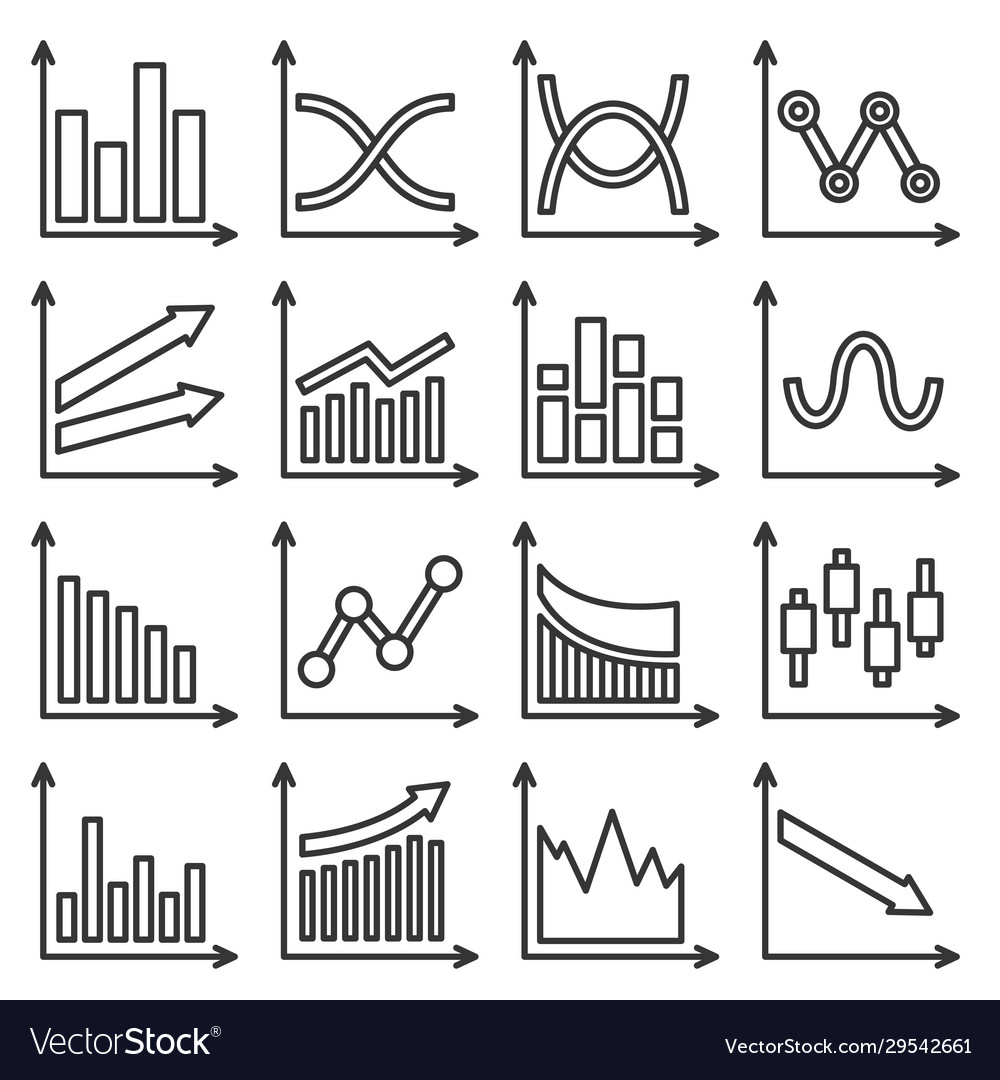 Diagrams and graphs icons set line style