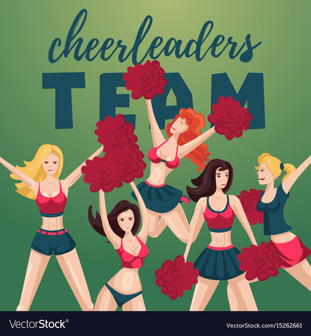 Girl cheerleaders people cartoon character team