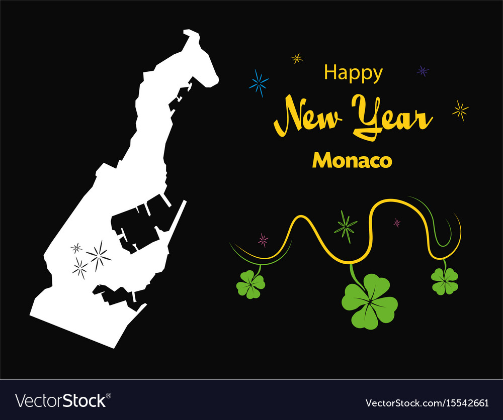 happy new year theme with map of monaco vector image