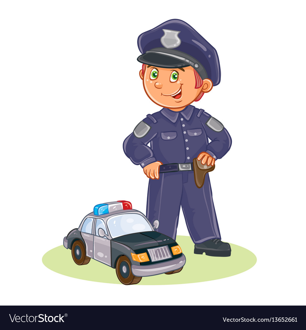 Icon of small child policeman and his car