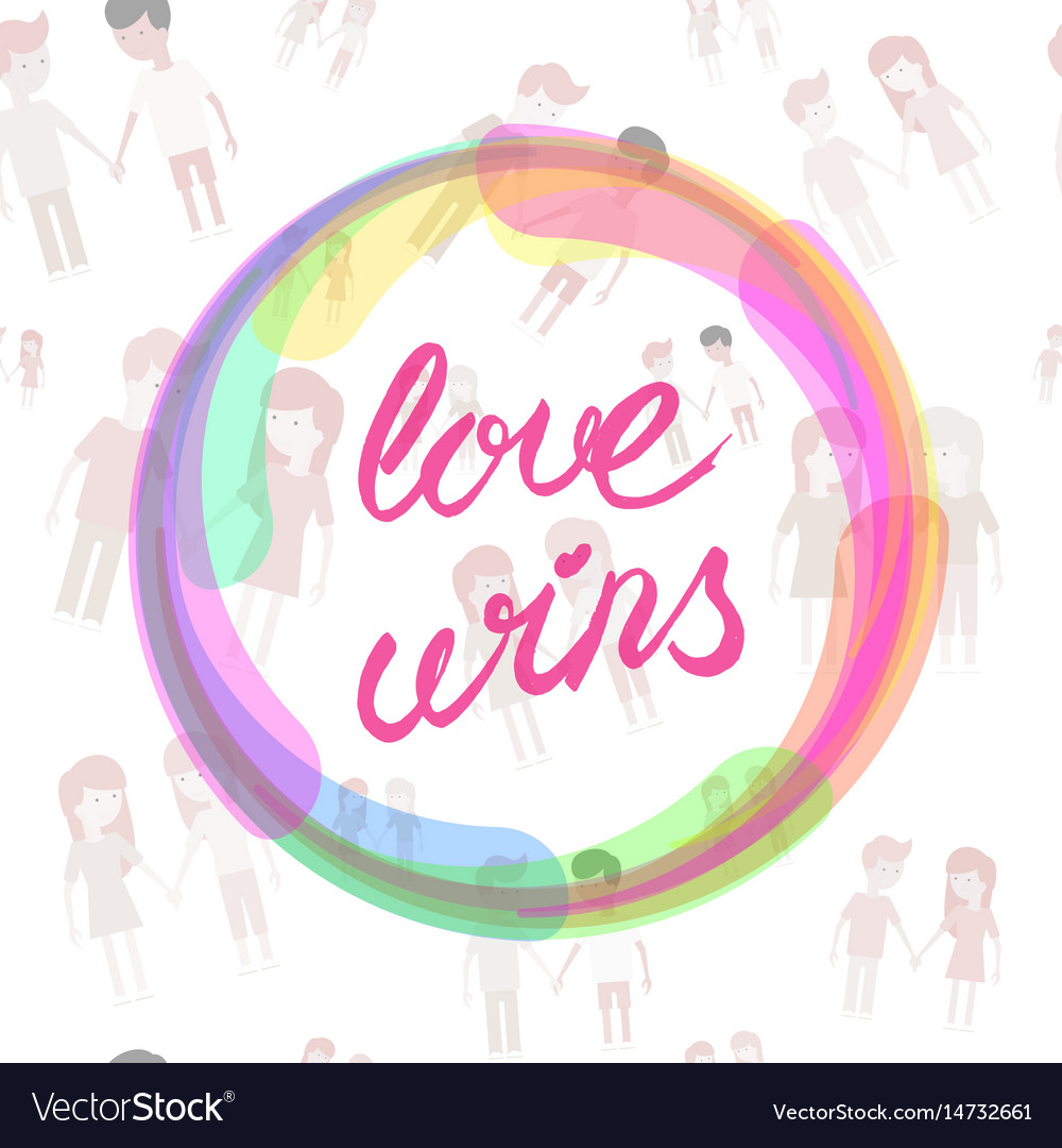 Love wins lettering text drawn by hand