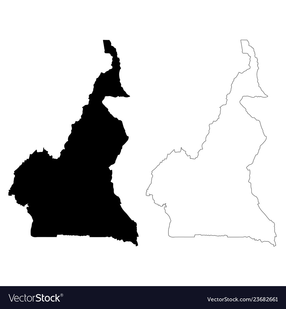 Map cameroon isolated black
